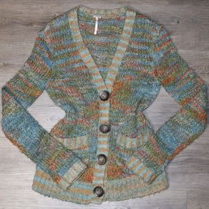 Free People Sz XS Chunky Knit Multi Color Cardigan